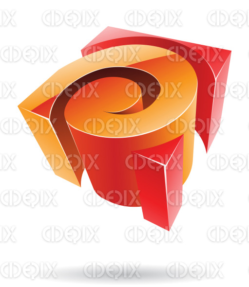 abstract orange and red 3d glossy spiral cube logo icon stock illustration