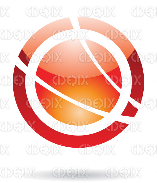 abstract orange and red glossy planet orbit logo icon stock illustration