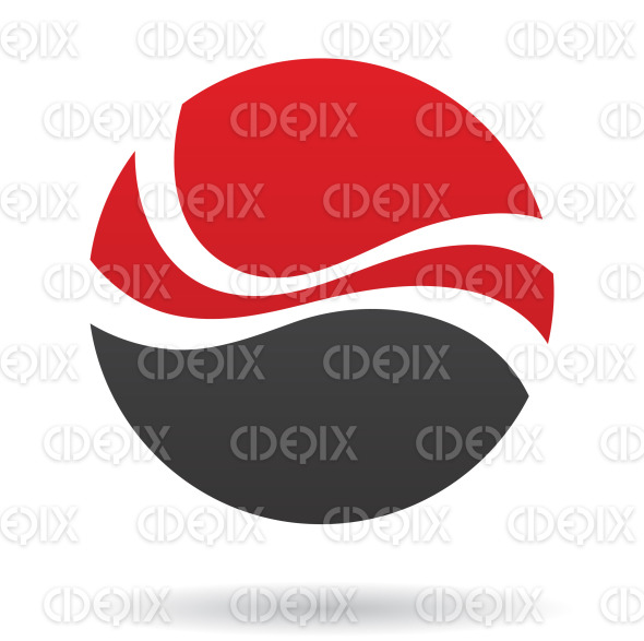 abstract black and red round wave logo icon stock illustration