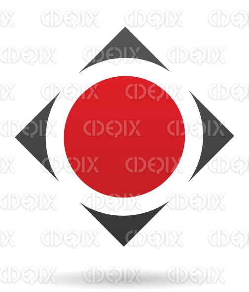 abstract black and red round square logo icon stock illustration