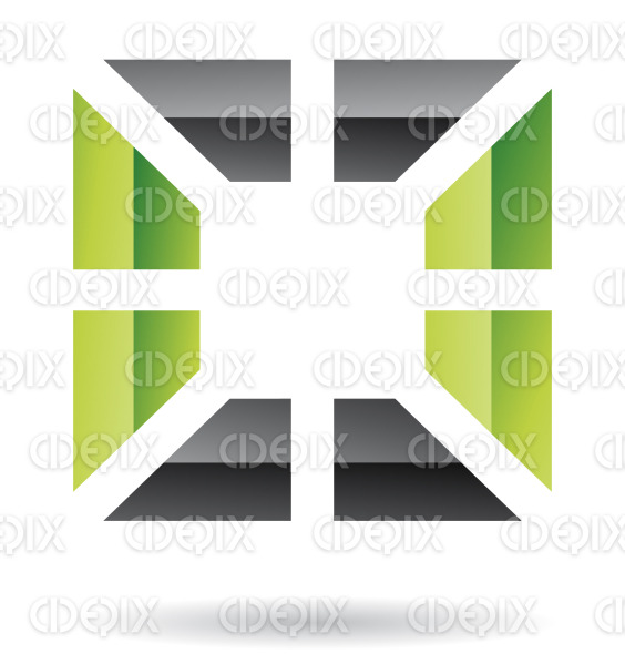 abstract black and green embossed square logo icon stock illustration