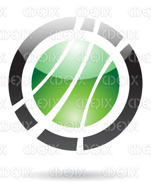 abstract black and green glossy orbit logo icon stock illustration