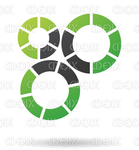 abstract black and green cogs and gears logo icon stock illustration