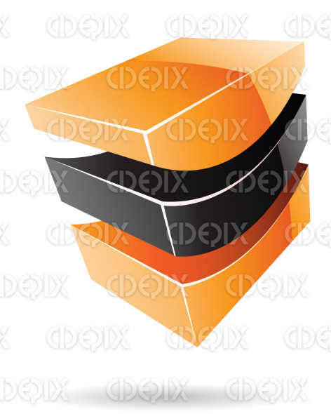 abstract orange and black 3d glossy cube logo icon stock illustration
