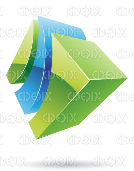 abstract 3d green and blue glossy cube logo icon stock illustration