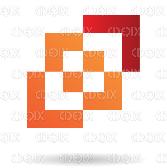 abstract orange and red nested squares logo icon stock illustration