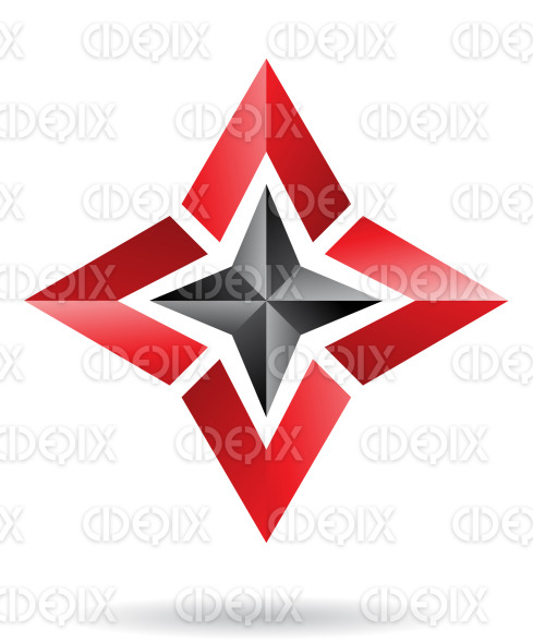 abstract black and red 4 directions star logo icon stock illustration