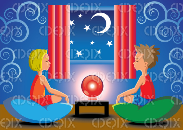 psychic fortune telling kids and red magic ball stock illustration