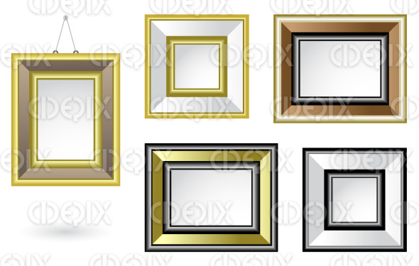 shiny and golden picture frames stock illustration