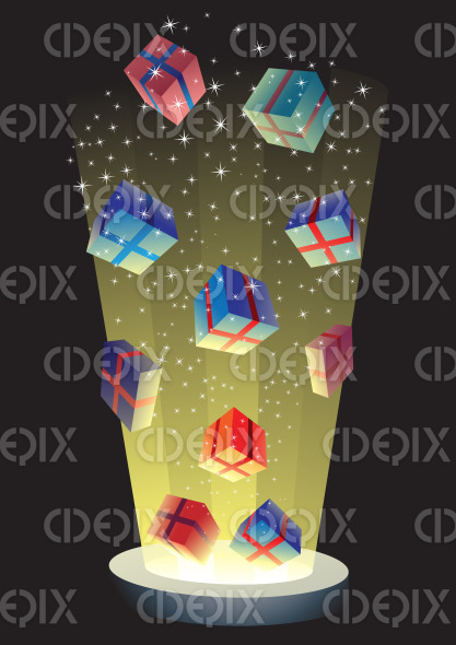 magical gift boxes exploding with light stock illustration