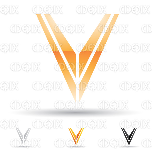 Abstract Designs And Logo Icons For Letter V Set 3 Stock Illustration
