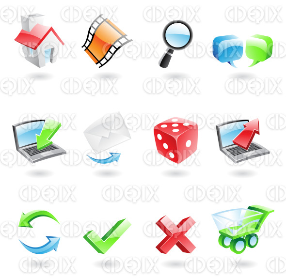 glossy and colourful 3d web icons stock illustration