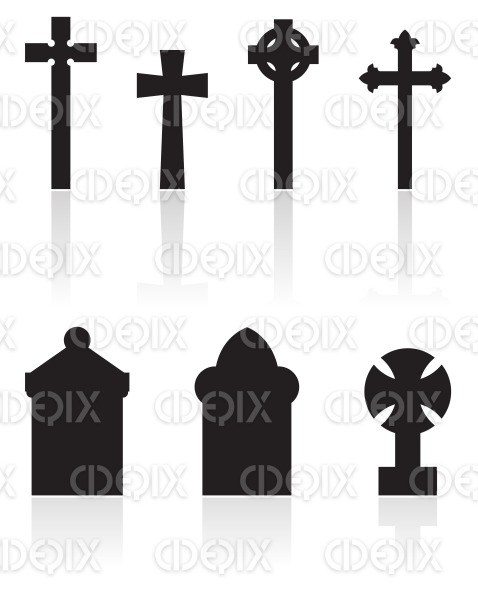 black gravestones silhouettes stock illustration
