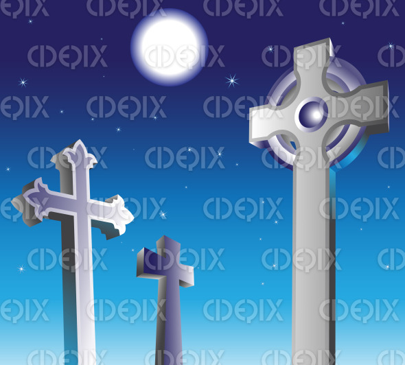 gravestones in a graveyard at night stock illustration