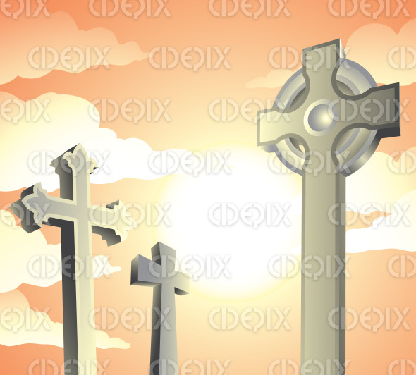 tombstones in a graveyard on a sunny day stock illustration