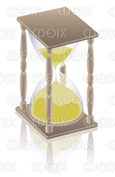 antique clock hourglass, sandglass stock illustration