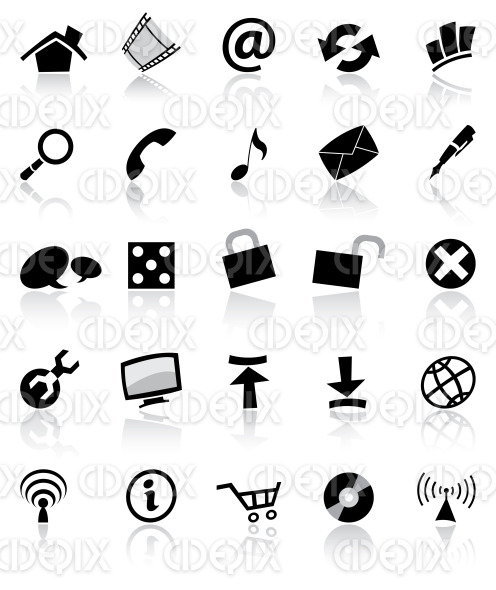 various black web, computer, app icons stock illustration