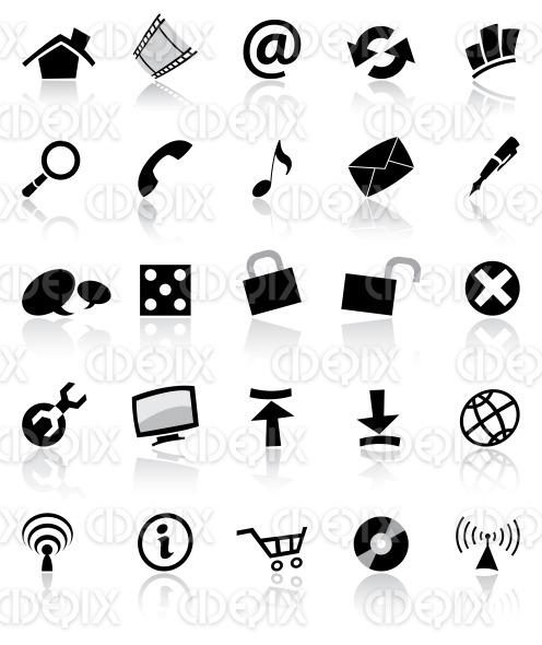 various black web, computer, app icons stock illustration