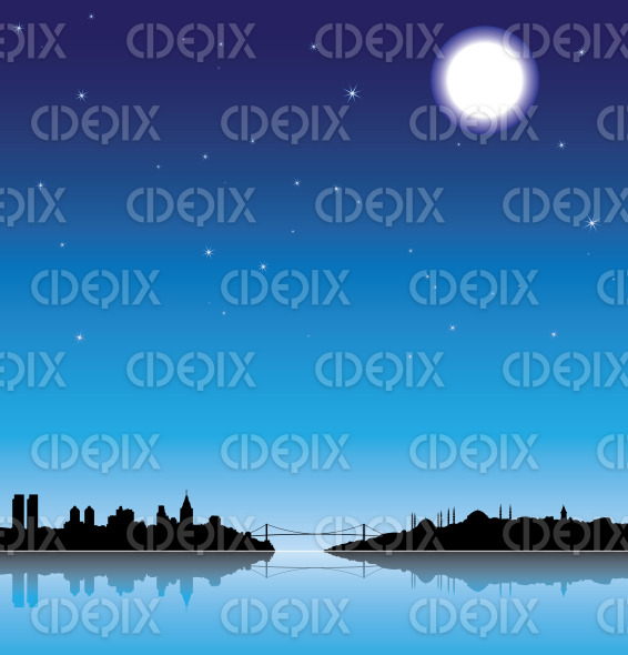 istanbul city silhouette at night with a full moon stock illustration