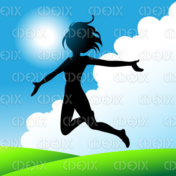 girl with open arms jumping under the sunny blue sky stock illustration