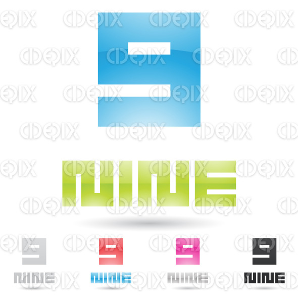 colorful and abstract rectangular icons for number 9 stock illustration