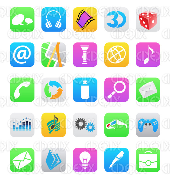colorful ios 7 style mobile app icons isolated stock illustration