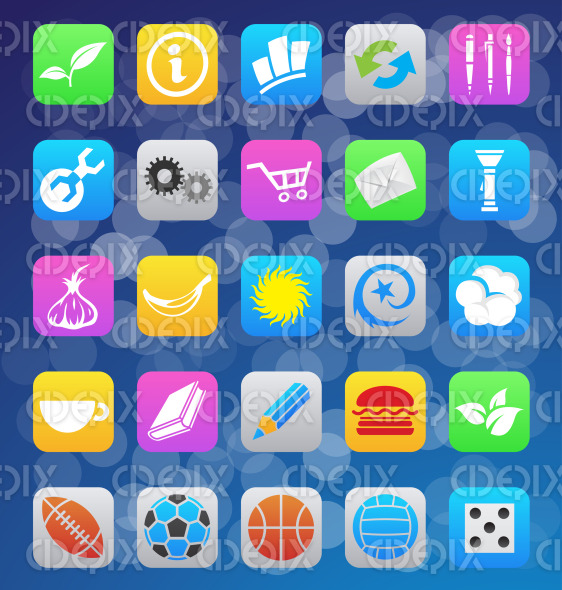 various colorful icons for ios 7 style mobile apps stock illustration