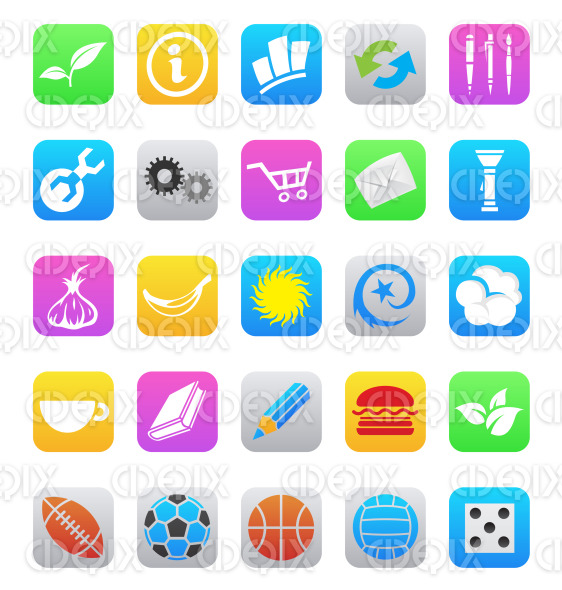 various colorful icons for ios 7 style mobile apps isolated stock illustration