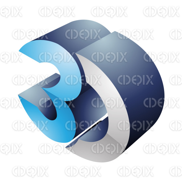 Blue and Gray 3d Display Technology Symbol stock illustration