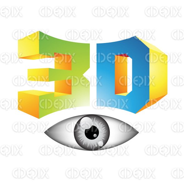 Green Blue and Yellow 3d Symbol and Glossy Eyes stock illustration
