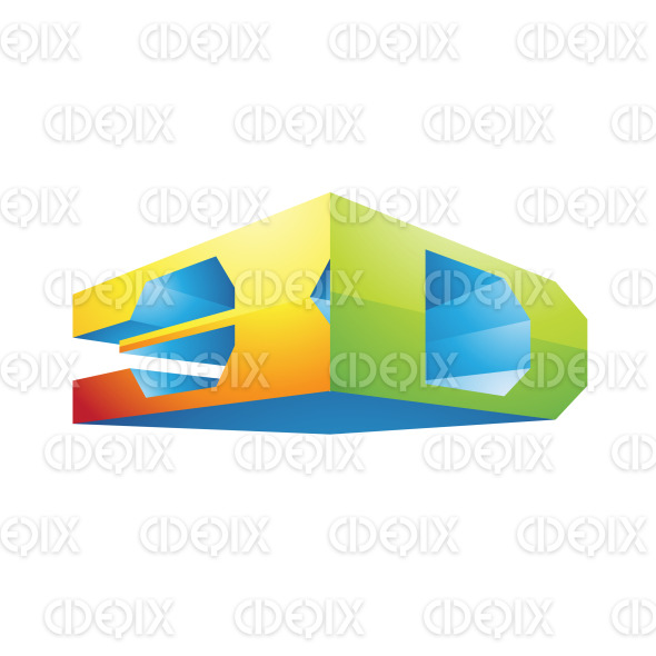 Blue Yellow and Green Cornered 3d Technology Symbol stock illustration