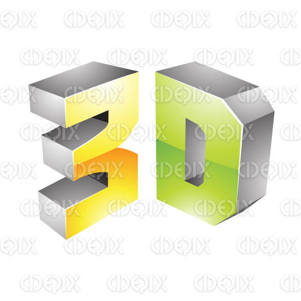 Yellow and Green Glossy 3d Technology Icon stock illustration