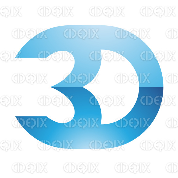 Glossy Blue 3d Display Technology Symbol stock illustration