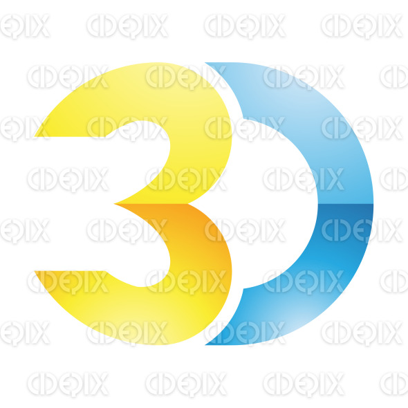 Blue and Yellow 3d Technology Symbol stock illustration