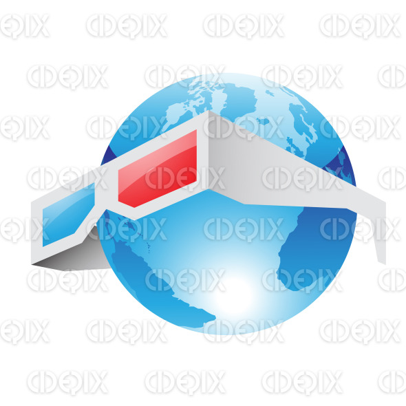 3d Red Blue Glasses and Blue World stock illustration