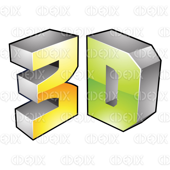 Green and Yellow Glossy 3d Technology Icon stock illustration