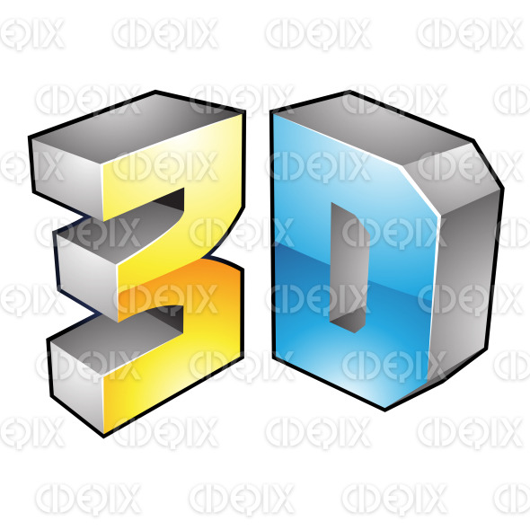 Yellow and Blue Glossy 3d Technology Icon stock illustration