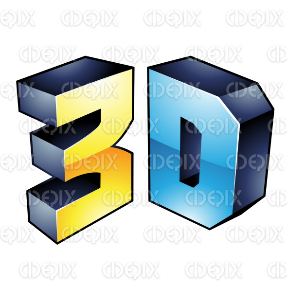 Blue and Yellow Glossy 3d Technology Symbol stock illustration