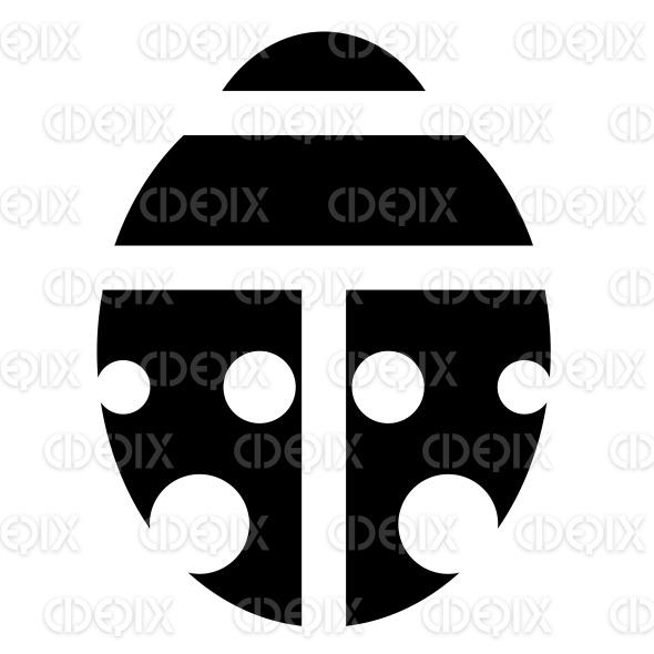 Black Silhouette of a Cartoon Ladybug Icon stock illustration
