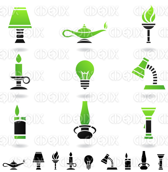 primitive and modern light sources stock illustration