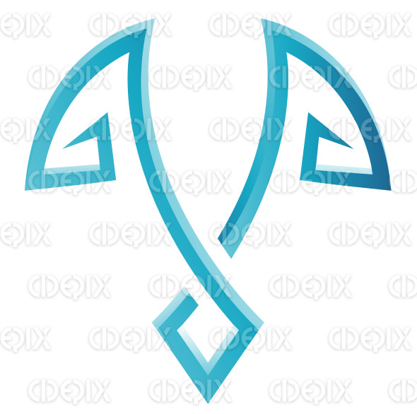 Blue Glossy Wing like Lines Icon stock illustration