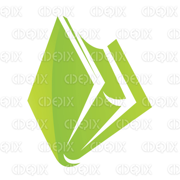 Green Glossy Cartoon Book Icon stock illustration