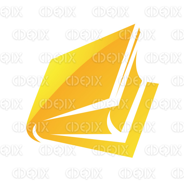 Yellow Glossy Cartoon Book Icon stock illustration