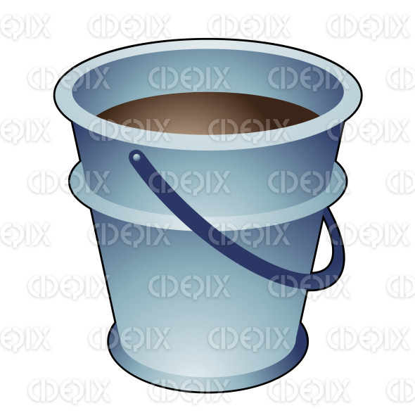 Blue Metallic Cartoon Bucket stock illustration