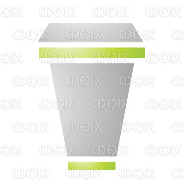 Grey and Green Cardboard Coffee Cup stock illustration
