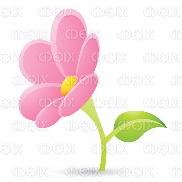 Cartoon Green Leaf And Pink Flower Icon Stock Ilration