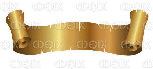 Shiny Golden Ripped Curly Banner stock illustration