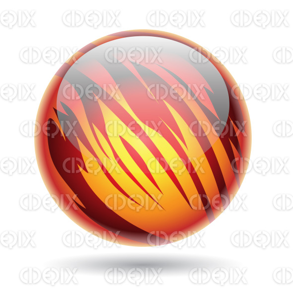Glossy Planet Sphere with Red and Yellow Stripes stock illustration