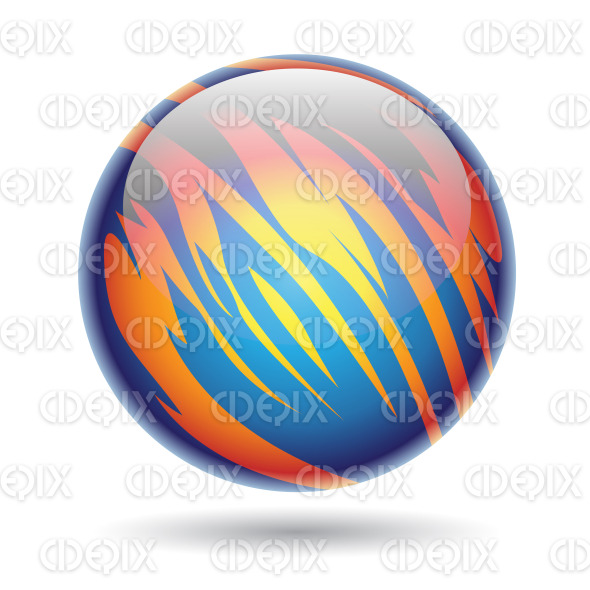 Glossy Planet Sphere with Blue and Yellow Stripes stock illustration