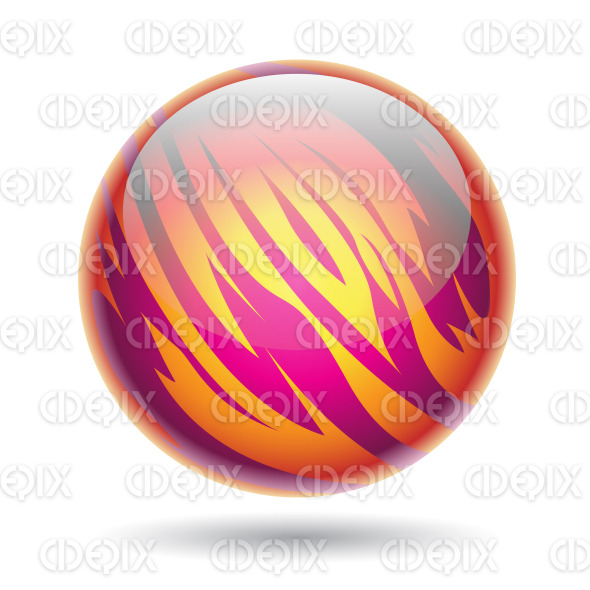 Glossy Planet Sphere with Magenta and Yellow Stripes stock illustration